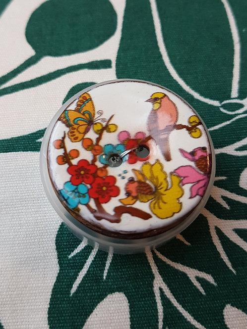"""Boutons Coco décorés """"L'Oiseau sur la Branche"""""""