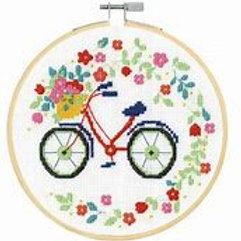 """Kit Point de Croix DMC - """"Vélo"""" avec cerceau"""