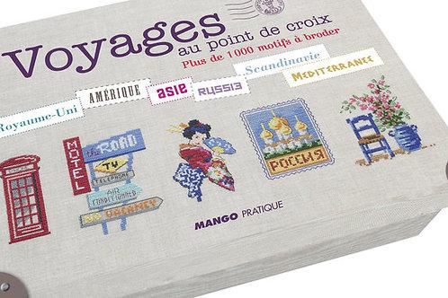"""Valisette """"Voyages au point de croix"""" ed. Mango"""