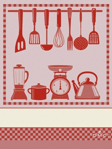 """Essuie de cuisine - torchon """"Kitchen"""" à broder - DMC"""