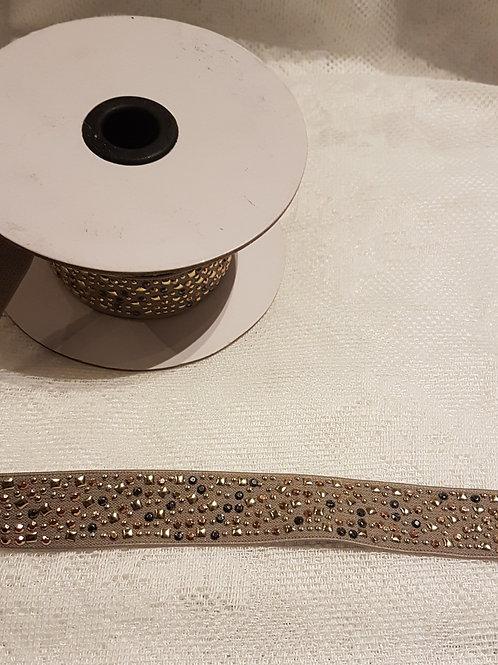 Galon élastique avec strass - 22 mm - 2 teintes
