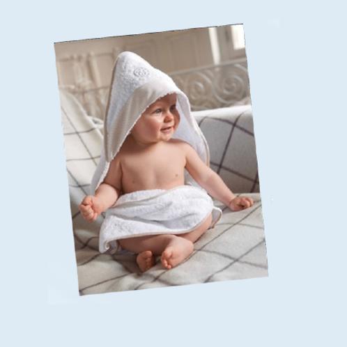 Cape de bain pour bébé avec bandes aïda brodables