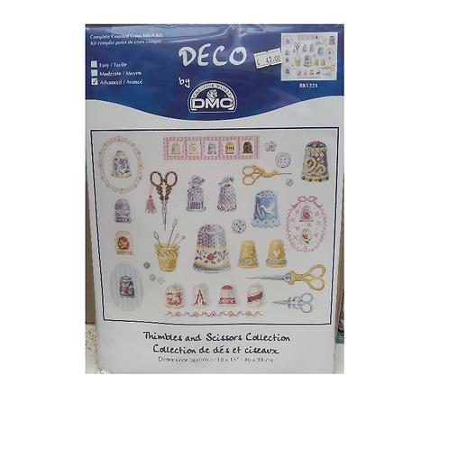 """Kit point de croix """"Collection de dés et ciseaux"""""""