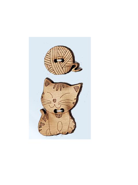 """Boutons animaux en bois """"Chat et pelote de laine"""""""