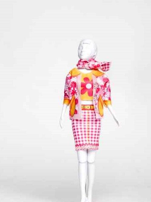 """Planche de vêtements pré-découpés """"Debbie Flower"""" Dress your Doll"""