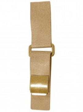 Attache beige simili cuir à pression dorée