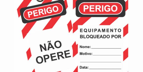 """ETIQUETA DE BLOQUEIO (ET1SF) """"NÃO OPERE EQUIPAMENTO BLOQUEADO"""""""
