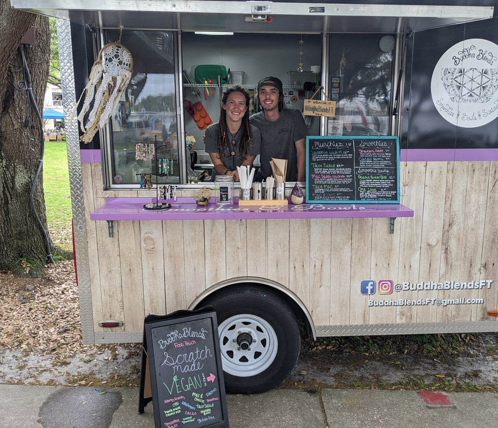 Ariana & Kyle, Owners/Operators of BuddhaBlends Vegan / Plant Based Food Truck