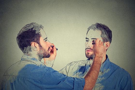 מטופל במשבר זהות עצמית מצייר את עצמו