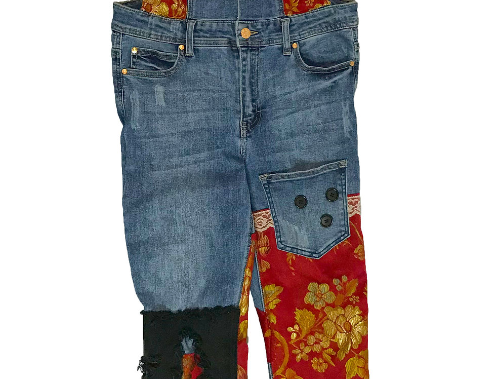 Red Floral Overalls