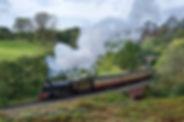 Train at full steam crossing bridge