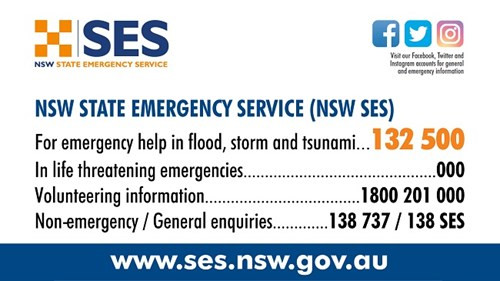 Contact numbers for NSW and emergency services