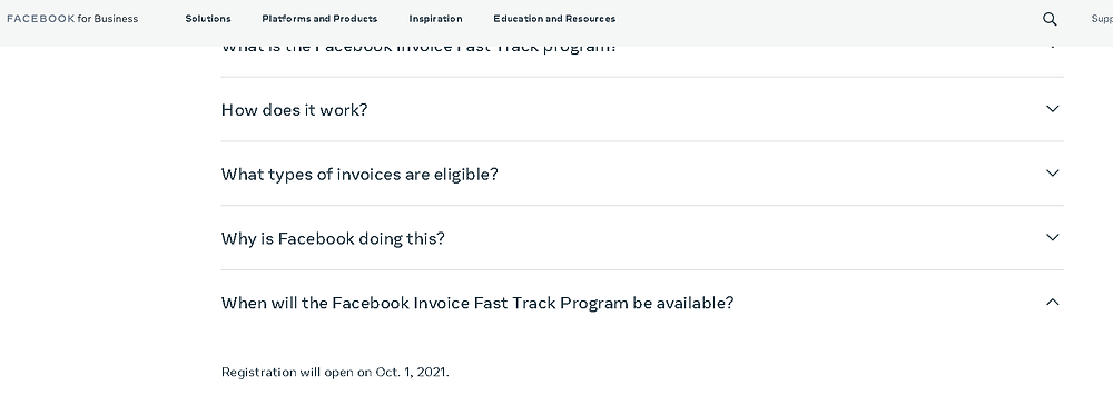 FAQ showing start date for Facebook Invoice Fast Track