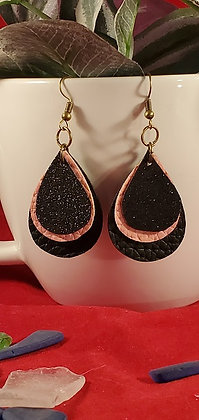 Black Glitter, Pale Pink, and Black Leatherette Earrings