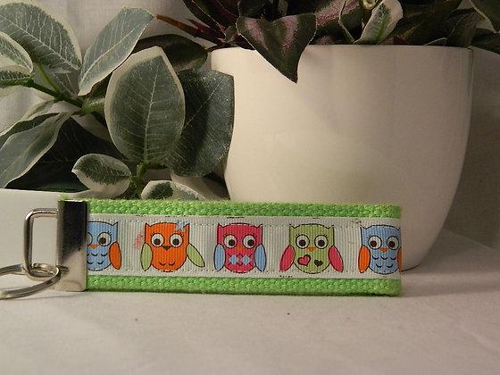 Colorful owls Wristlet Key Fob
