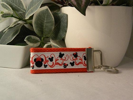 Minnie with red swirls Mini Key Fob