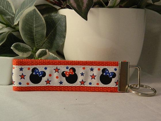 Patriotic Minnie Wristlet Key Fobs