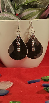 Black Camo Leatherette Earrings with SIlver Beading