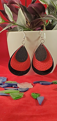 Black Glitter and Red Leatherette Triple Layer Teardrop Earring