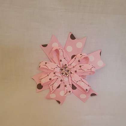 Pink Cherry Blossoms and Brown polka dots Hair Bow