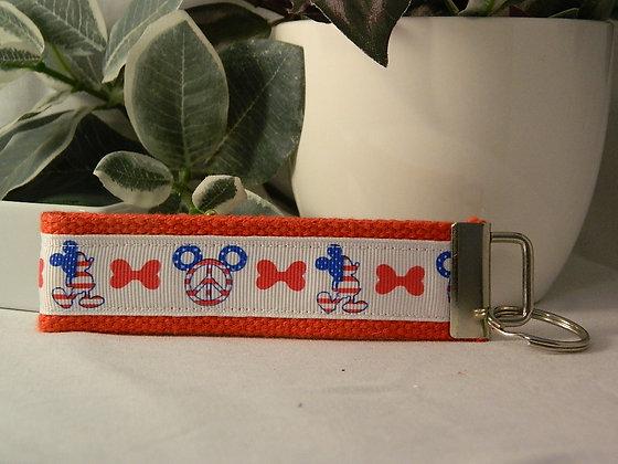 Patriotic & Peace Mickey Wristlet Key Fob