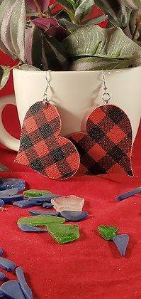 "Heart Shaped Red Buffalo Plaid Leatherette Earrings - 2"""