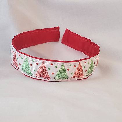 Red & Green Filligree Trees Reversible Headband with Cover