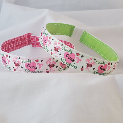 Candy Cane Cutie Reversible Headband with Cover