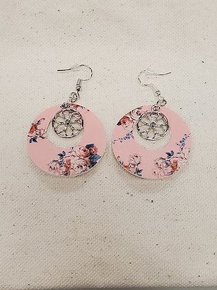 Blush Floral Round with Flower Charm Leatherette Earrings