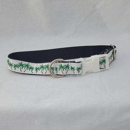 White Palm Trees Dog Collar