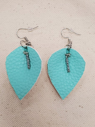 Turquoise Leaf with Beading Leatherette Earrings