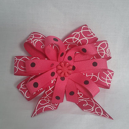 Pink Swirl and Dot Hair Bow