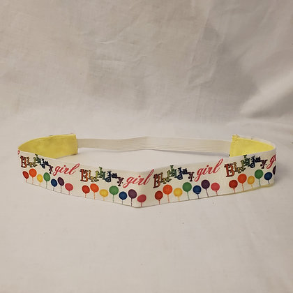 Birthday Girl Reversible Headband with Elastic