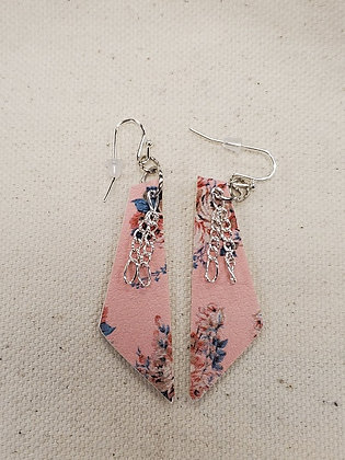 Blush Floral Trapezoid with Chain Leatherette Earrings