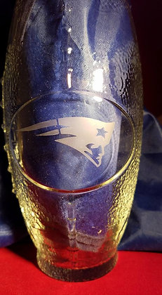 New England Patriots Etched Football Glass