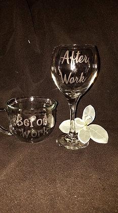 Before work, After work glassware set