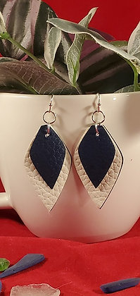 Navy and White Diamond Double Layer Leatherette Earrings