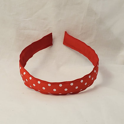 Red & White Swiss Dots Reversible Headband with Cover