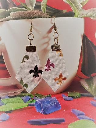 Mardi Gras Diamond Shaped Fleur-de-Lis Earrings