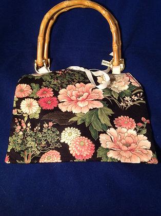 Black and Pink Floral Handbag