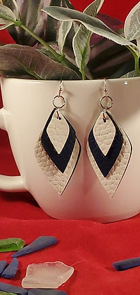 Navy and White Diamond Triple Layer Leatherette Earrings