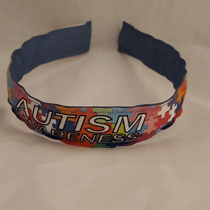 Autism Awareness Puzzle Reversible Headband with Cover