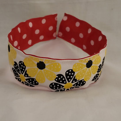 Yellow & Black Flowers  Reversible Headband with Cover (Wide)