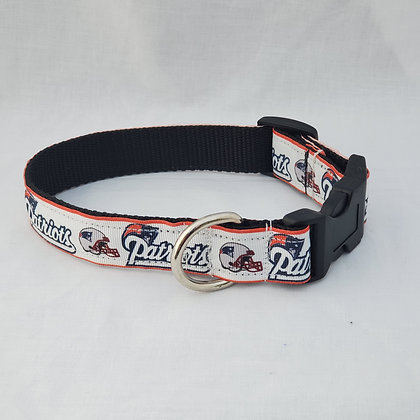 New England Patriots White Dog Collar