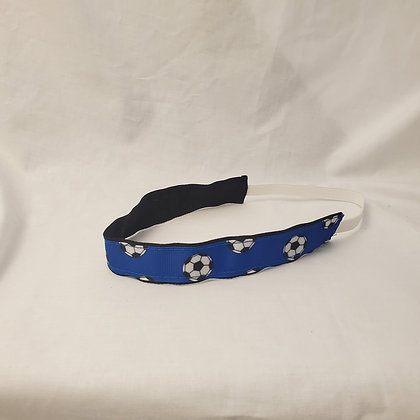 Royal Blue Soccer Print Headband with Elastic