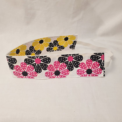 Pink Floral and Yellow Floral Wide Reversible Headband with Elastic