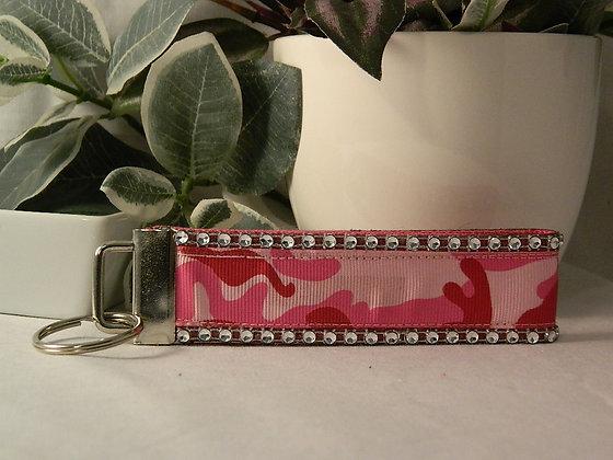 Pink Camo Bling Wristlet Key Fob