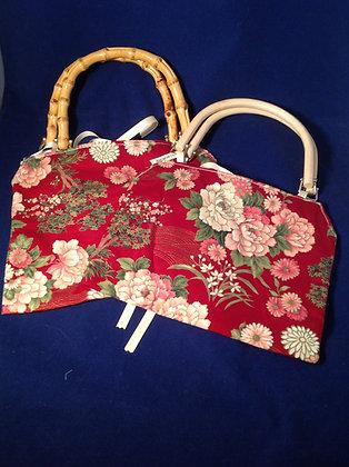 Burgundy Floral Handbag