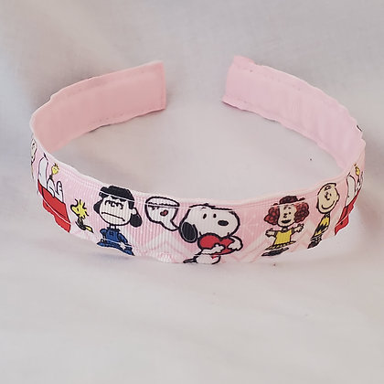 Peanuts Gang on Pink Reversible Headband with Cover