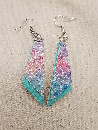 Mermaid Glitter & Turquoise Trapezoid Leatherette Earrings